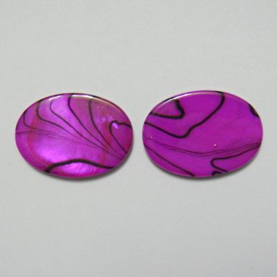 Perle plate sidef mov cu negru, 25x18x3mm, orificiu 1mm 1 buc