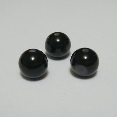 Margele rasina negre, imitatie ochi de pisica, 10mm 1 buc