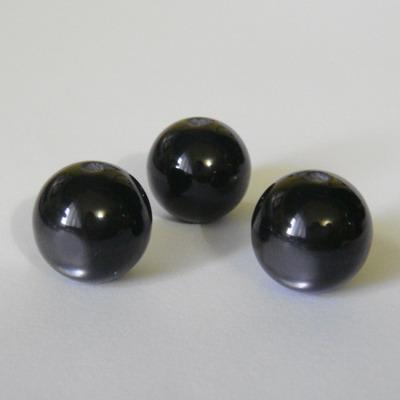 Margele rasina negre, imitatie ochi de pisica, 12mm 1 buc