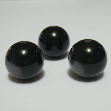 Margele rasina negre, imitatie ochi de pisica, 16mm 1 buc