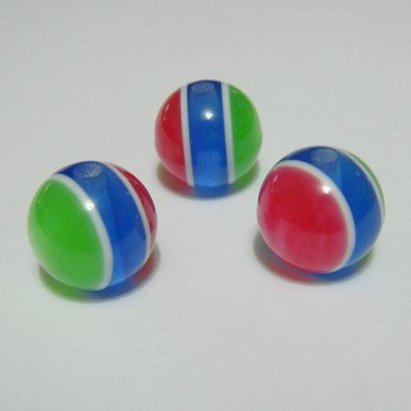 Margele rasina rosii-albastru-verde, imitatie ochi de pisica, 14mm 1 buc