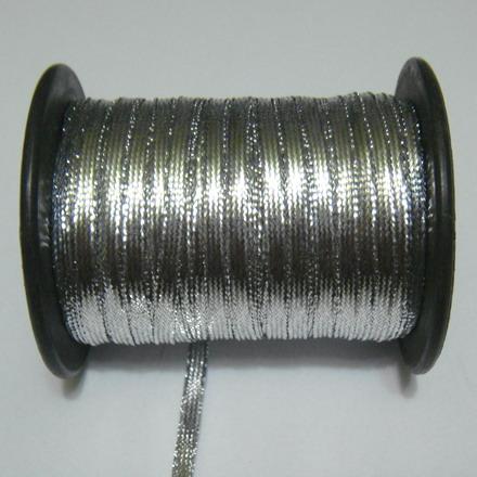 Fir lurex argintiu, plat, 3.5mm 1 m