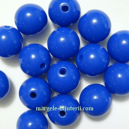 Margele plastic, sferice, albastru cobalt, 10mm 10 buc
