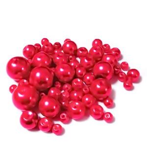 Mix perle sticla rosii, 4-12 mm 25 g