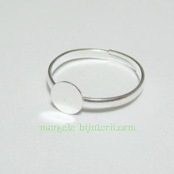 Baza inel reglabila, argintie, platou 6mm, diametrul 18mm 1 buc