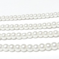 Perle sticla albe, 4mm 10 buc