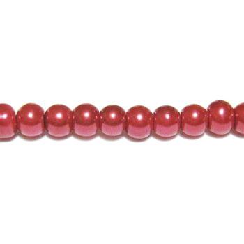 Perle sticla rosii, 4mm 10 buc