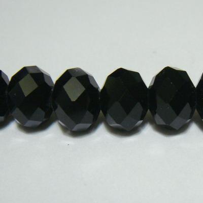 Margele sticla multifete negre, 12x9mm 1 buc