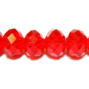 Margele sticla multifete rosii, transparente, 12x9mm 1 buc