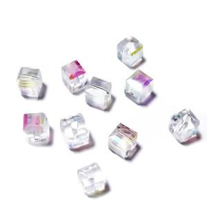 Margele sticla transparenta AB, cubice cu muchii tesite, 4x4mm 1 buc