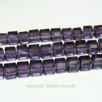 Margele sticla violet, cubice cu muchii tesite, 6x6mm 1 buc