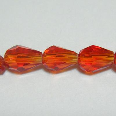 Margele sticla multifete, rosii, lacrima 7X5mm 1 buc