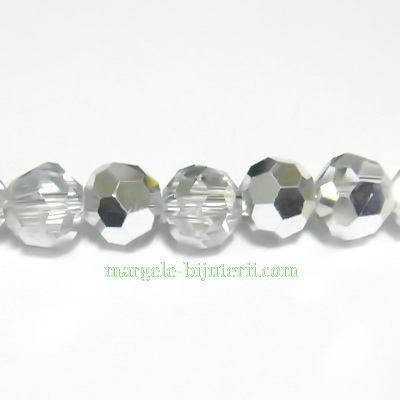 Margele sticla argintii-semitransparente, multifete, 6mm 10 buc