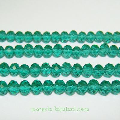 Margele sticla multifete verde-smarald, rondel 6x4mm 10 buc