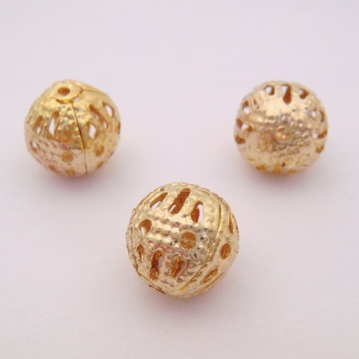 Margele  filigran, aurii, 8mm 10 buc