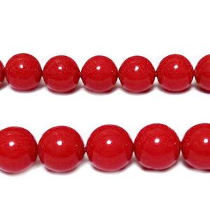 Perle stil Mallorca, rosii, 8mm 1 buc