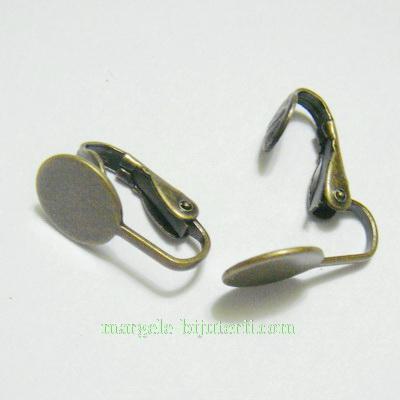 Cercei clips , bronz, 18mm, cu platou 10mm 2 buc