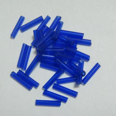 Margele tubulare, albastre, transparente, 9mm 20 g