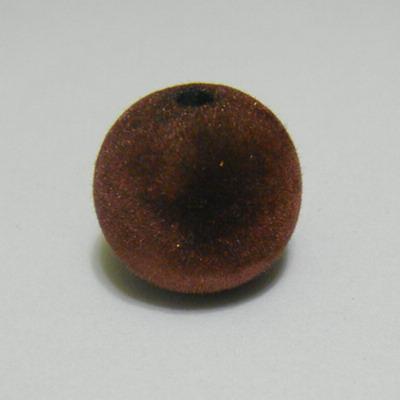 Margele din plastic in catifea maro, 22mm 1 buc