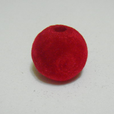 Margele din plastic in catifea rosie, 16mm 1 buc