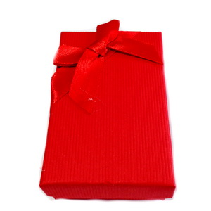Cutie carton, rosie, cu fundita, 8x5x2.5 cm 1 buc