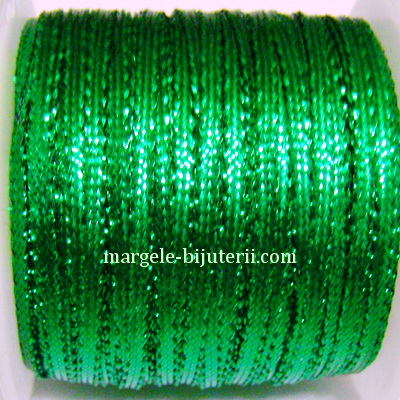 Fir lurex verde, plat, 3mm 1 m