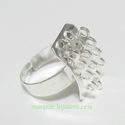 Baza inel argintie, reglabila, cu 3 siruri bucle 1 buc