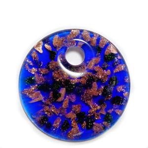 Pandantiv  Lampwork, cu interior floare albastra, 43x32x10mm 1 buc