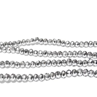 Margele sticla multifete argintii 4x3mm 10 buc