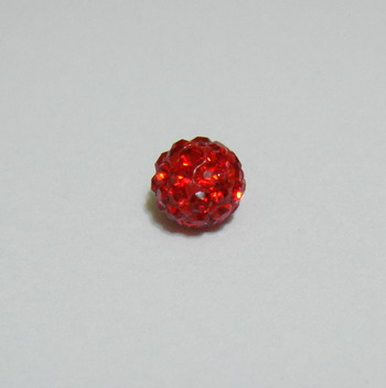 Margele shamballa rosii, 6mm 1 buc