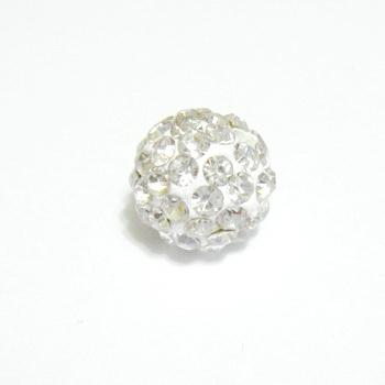 Margele shamballa albe, 10mm 1 buc