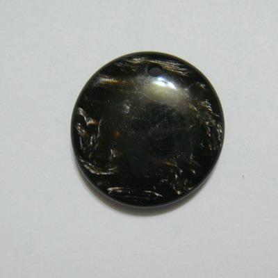 Pandantiv plastic negru, imitatie scoica, 24x7mm 1 buc
