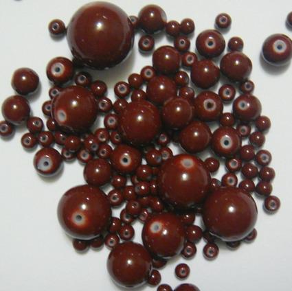 Mix margele sticla maro 4-18 mm 50 g