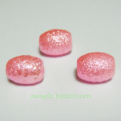 Perle sticla, stardust, ovale, roz-intens, 12x10mm 1 buc