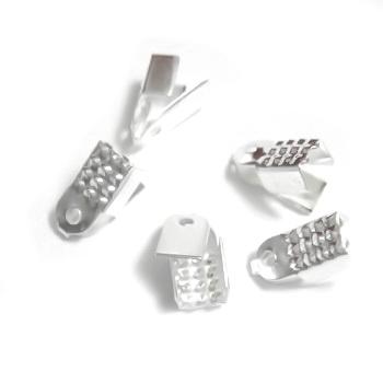 Capat prindere snur/panglica, argintiu, plat, 10x4mm 10 buc