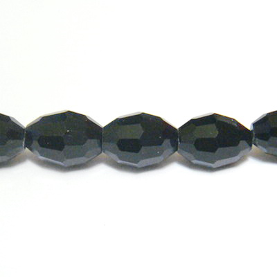 Margele sticla ovale, multifete, negre, 10x8mm 1 buc