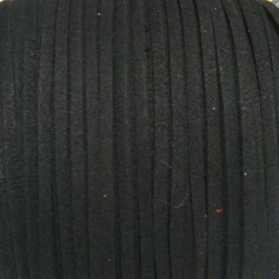 Snur faux suede, negru, grosime 3x1.5mm 1 m