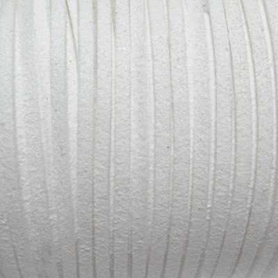 Snur faux suede, alb, grosime 3x1.5mm 1 m