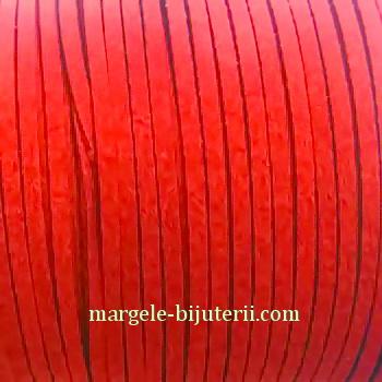 Snur faux suede, rosu, grosime 3x1.5mm 1 m