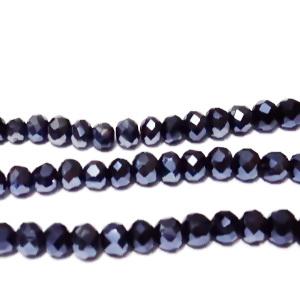 Margele sticla multifete, rondel, negru-hematit, 4x3.5mm 10 buc