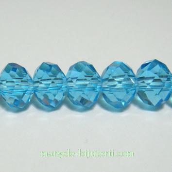Margele sticla multifete, bleu, rondel, 8x6mm 1 buc