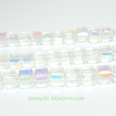 Margele sticla transparenta AB, cubice cu muchii tesite, 6x6mm 1 buc