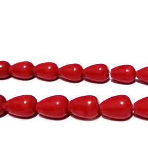 Perle stil Mallorca, rosii, lacrima 12x9mm 1 buc