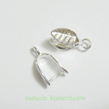 Accesoriu pandantiv argintiu, frunzulita 14x5mm 1 buc