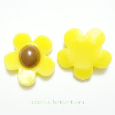 Aplice plastic galben, floare 18mm 1 buc