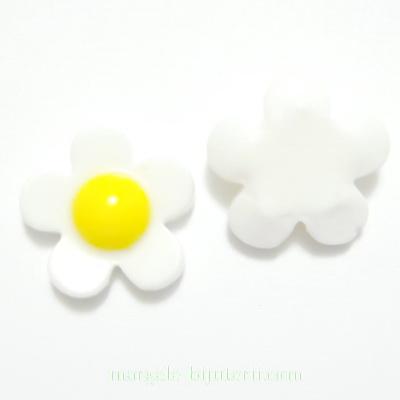 Cabochon plastic alb, floare 18mm, baza 10-11mm 1 buc