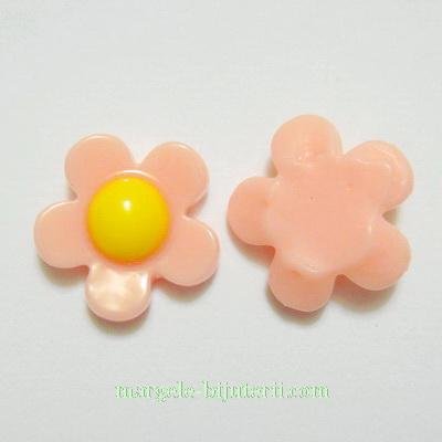 Cabochon plastic roz, floare 18mm, baza 10-11mm 1 buc