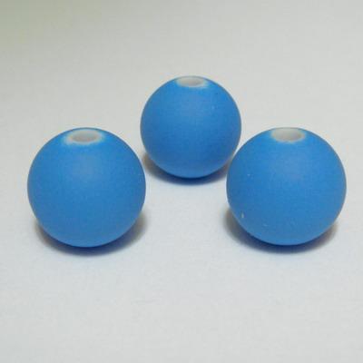 Margele plastic cauciucate albastre, 10mm 1 buc