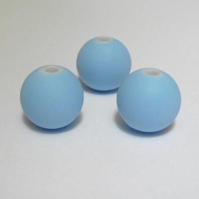 Margele plastic cauciucate bleu, 12mm 1 buc