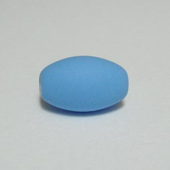 Margele plastic cauciucate bleu, 13x9mm 1 buc